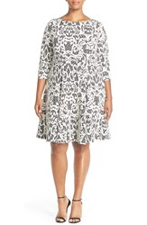 Plus Size Women's Eliza J Three Quarter Sleeve Lace Fit And Flare Dress