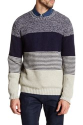 Barque Wide Stripe Long Sleeve Knit Wool Blend Sweater Blue