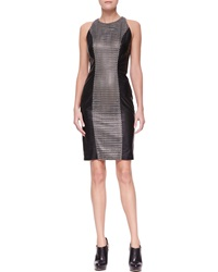 Versace Leather Dress With Woven Center Panel 38 4
