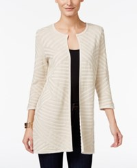 Jm Collection Petite Textured Flyaway Cardigan Only At Macy's Stone White Combo