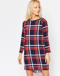Native Youth Long Sleeve Oversize Check Dress Navy Red