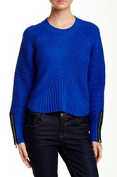 1.State Thick Ribbed Cropped Sweater Blue