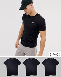f0829f09 Hollister 3 Pack Multi Icon Logo Crew Neck T Shirt In Black