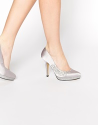 Little Mistress Diamante Heeled Court Shoes Pewter