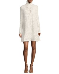 See By Chloe High Neck Crochet A Line Dress White