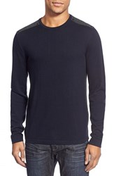 Men's John Varvatos Star Usa Contrast Patch Crewneck Sweater Navy