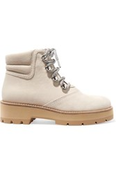 3.1 Phillip Lim Dylan Suede And Coated Cotton Twill Ankle Boots Ivory