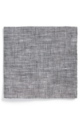 Todd Snyder Solid Linen Pocket Square Black