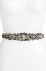 Glint 'Arabesque' Beaded Stretch Belt Hematite