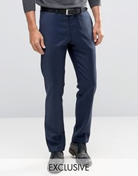 Heart And Dagger Skinny Smart Trousers In Wool Navy Blue