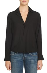 1.State Women's Surplice Crepe Blouse Rich Black