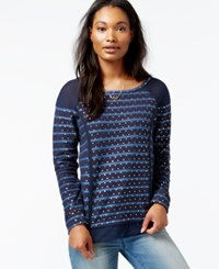 Maison Jules Mixed Media Foil Detail Sweater Only At Macy's Blue Notte