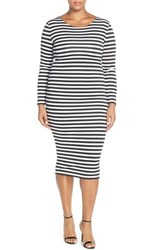 Plus Size Women's Eloquii Stripe Body Con Midi Dress