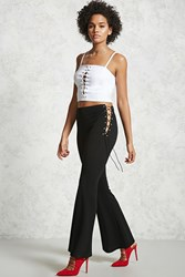 Forever 21 Lace Up Flared Pants Black