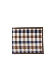 Aquascutum London Club Check 6 Card Wallet Brown