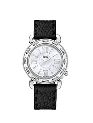 Fendi Selleria Mother Of Pearl And Leather Strap Analog Watch Silver