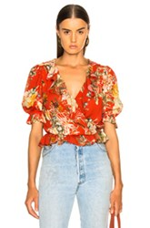 Icons Ruffle Cha Cha Top In Floral Red Floral Red