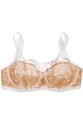 Elle Macpherson Embroidered Tulle And Stretch Silk Satin Underwired Bra Ivory