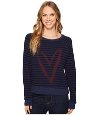 Allen Allen Stripe Thermal Long Sleeve Raglan Top Lapis Women's Long Sleeve Pullover Navy