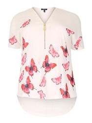 Samya Plus Size Butterfly Zip Detail Top White