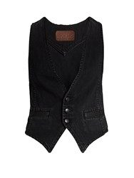 Rockins Slim Fit Denim Waistcoat Black