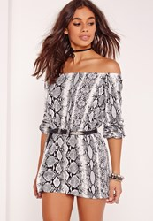 Missguided Petite Exclusive Snake Print Bardot Playsuit Grey Grey