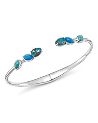 Ippolita Sterling Silver Rock Candy Mixed Turquoise And Amazonite Doublet Hinged Bangle Blue Silver