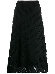 Dkny Fringed Trim Mid Length Skirt Black