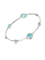 Ippolita Stella Turquoise Mother Of Pearl Diamond And Sterling Silver Doublet Bangle Bracelet Silver Turquoise