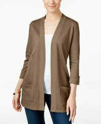 Karen Scott Petite Three Quarter Sleeve Cardigan Only At Macy's Brown Clay