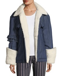 Maggie Marilyn Made For Greatness Oversized Denim Jacket W Shearling Blue