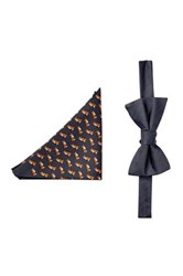Tommy Hilfiger Fox And Herringbone Silk Bow Tie And Pocket Square Set Gray