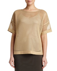 Lafayette 148 New York Mesh Short Sleeve Blouse Camel