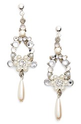 Women's Halo And Co Crystal And Faux Pearl Chandelier Earrings Silver