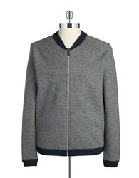 Strellson Merino Wool Zip Front Sweater Grey