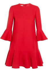Valentino Ruffle Trimmed Wool And Silk Blend Mini Dress Red