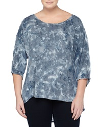 Xcvi Three Quarter Sleeve Tie Dye Combo Tunic Gray
