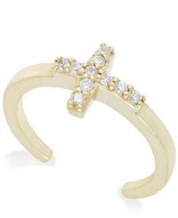 B. Brilliant Cubic Zirconia Cross Toe Ring In 18K Gold Over Sterling Silver