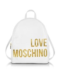 Love Moschino Eco Leather Backpack W Signature Logo White