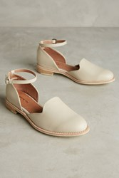 All Black Madelyn Ankle Strap Flats Cream