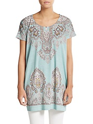 Saks Fifth Avenue Blue Paisley Printed Jersey Tunic Turquoise Multi