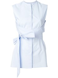Each X Other Belted Wrap Sleeveless Blouse Blue