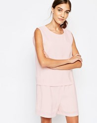 Selected Ovina Playsuit Peach Blush Pink