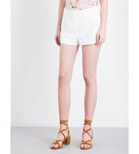 Red Valentino Floral Embroidered Cotton Shorts Bianco