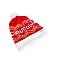 Tuck Shop Co. Chinatown Striped Pompom Beanie Red