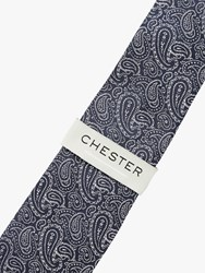 Chester Barrie By Paisley Silk Tie Navy