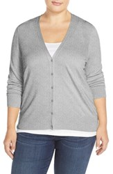 Plus Size Women's Sejour V Neck Cardigan Grey Medium Heather