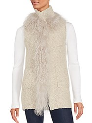 Saks Fifth Avenue Mongolian Lamb Fur Trimmed Vest Oatmeal