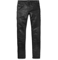 Saint Laurent Slim Fit 15Cm Hem Crinkled Stretch Denim Jeans Black