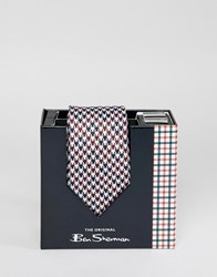 Ben Sherman Silk House Checked Tie And Cufflinks Set Red